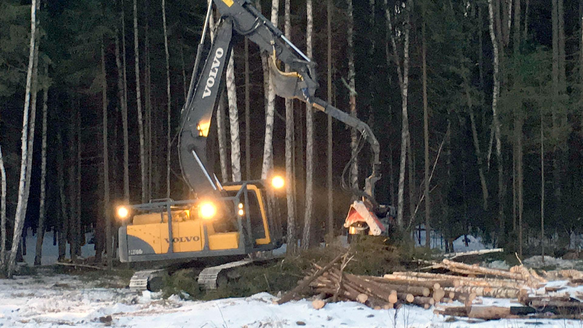 Гусеничный экскавтор Volvo с навесным оборудованием Харвестер